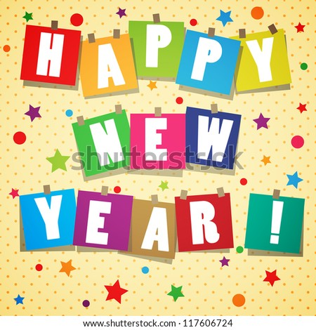 Yellow new year background with stickers and text - stock vector