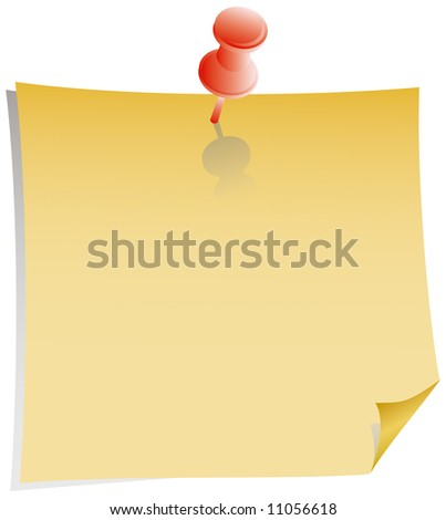 yellow note and red pushpin with shadow