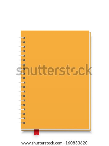 Yellow notebook isolated on white background cutout - stock vector