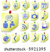 Yellow Notepad Memos and Blue Icons, with corner peels, in this Web Icon Set. - stock vector