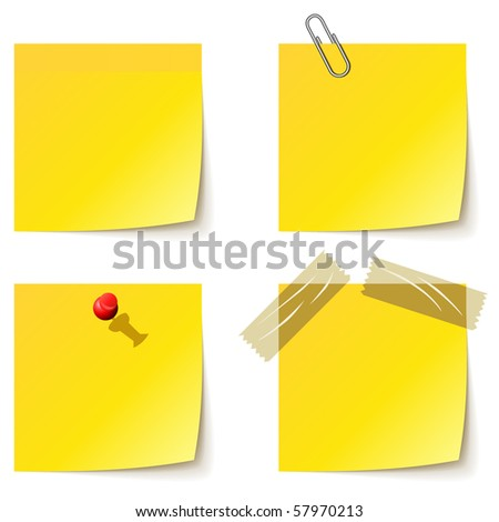 Yellow notice papers isolated on white. - stock vector