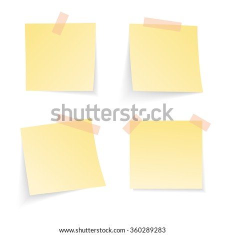 Yellow notice papers isolated on white. Vector illustration.