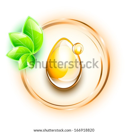 Yellow oil drops in rings, with small plant, EPS 10, isolated - stock vector