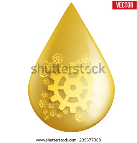 Yellow oil industry drop symbol with gears cogs. Vector Illustration isolated on white background. - stock vector
