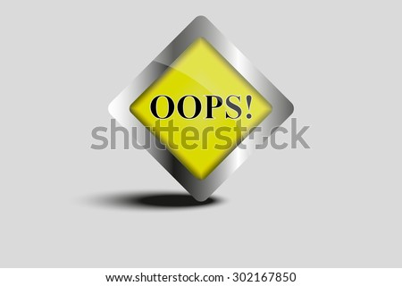 Yellow Oops! sign, Vector image. - stock vector