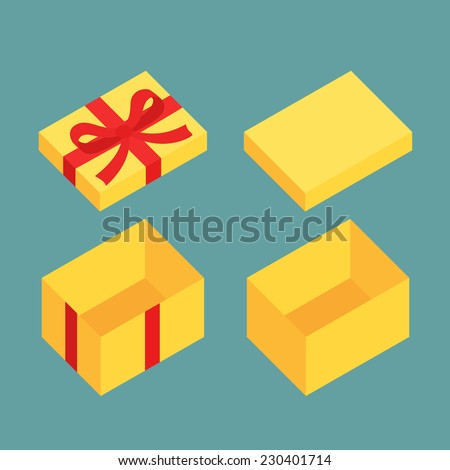 Yellow open box for gifts. Christmas and flat design variant. - stock vector