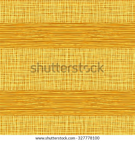 Yellow or beige fabric with stripes, burlap, quilting, imitation natural fibers hand art work, seamless background. - stock vector
