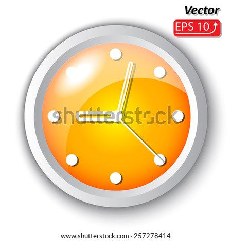yellow orange clock dial, icon isolated on white background Vector Illustration - stock vector