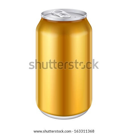 Yellow Orange Gold Bronze Metal Aluminum Beverage Drink Can 330ml, 500ml. Mockup Template Ready For Your Design. Isolated White Background. Product Packing. Vector EPS10 Product Packing Vector EPS10 - stock vector
