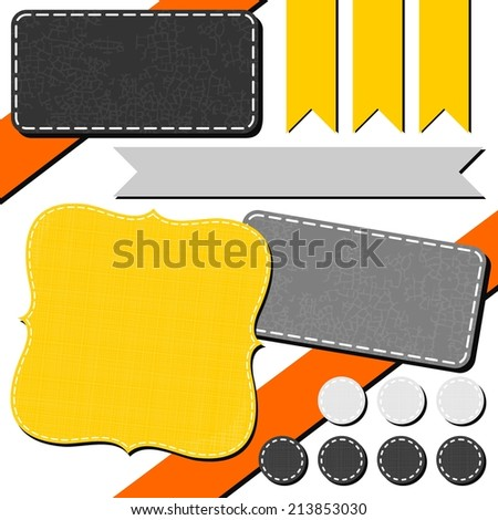 yellow orange gray arrow retro flag dot rectangular sewed shapes speech patterned elements for infographic with ribbon isolated on white background  - stock vector