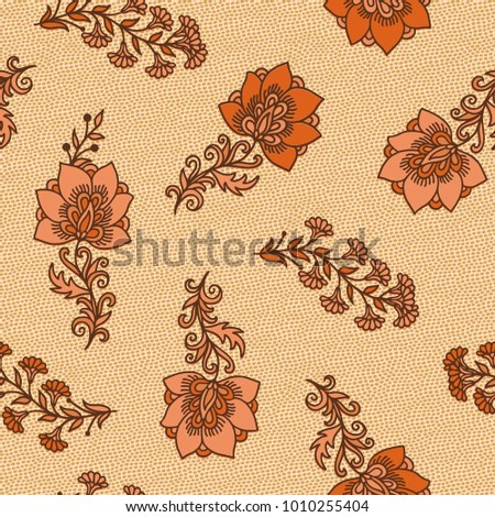 Yellow - orange seamless vector floral pattern