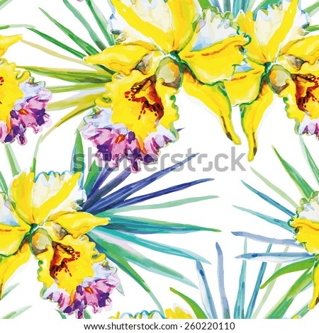 Yellow orchids with green palm leaves on the white background. Watercolor seamless pattern with tropical flowers.  - stock vector