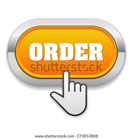 Yellow order button with metallic border on white background - stock vector