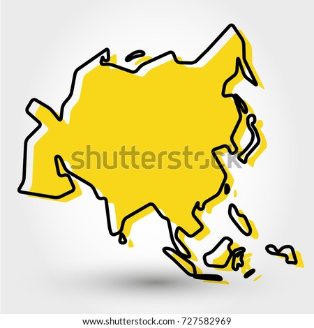 Yellow Outline Map Asia Stylized Concept Stock Vector 727582969 ...