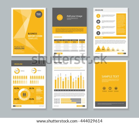 Yellow Page Business Company Profile And Annual Report Layout Template With  Infographics Elements , A 4  Brief Company Profile Sample