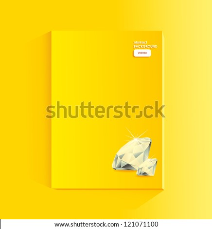 yellow page of magazine with diamond - stock vector