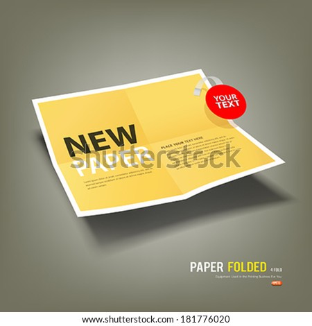 Yellow Paper Folded, four fold for business design background, vector illustration - stock vector