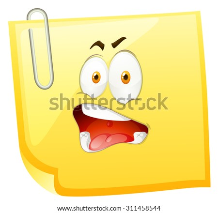 Yellow paper with shocking face illustration