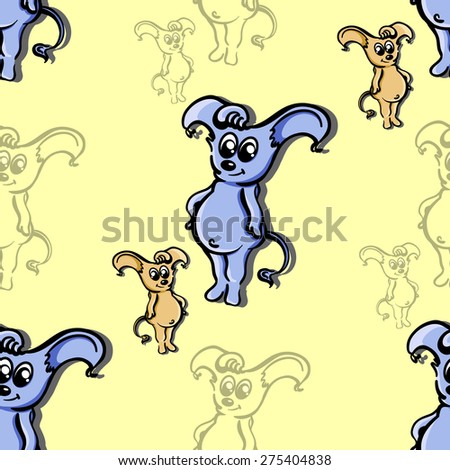 Yellow pattern made from hand drawn kind monsters. Vector illustration - stock vector