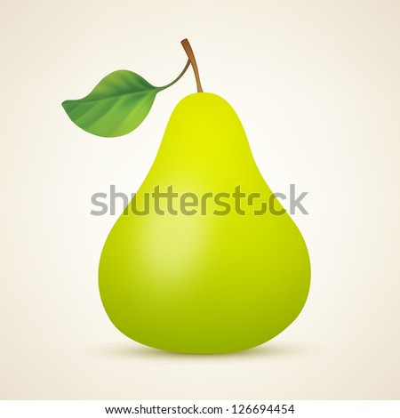 Yellow pear. Vector illustration created using gradient meshes - stock vector