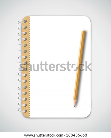 Yellow pencil and notebook  - stock vector
