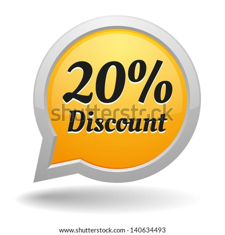 Yellow 20 percent off speech bubble