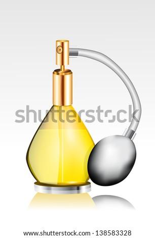 Yellow Perfume bottle - stock vector