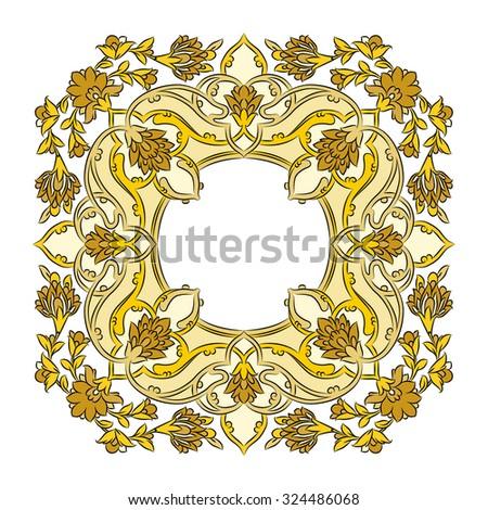 Yellow Persian Frame - stock vector