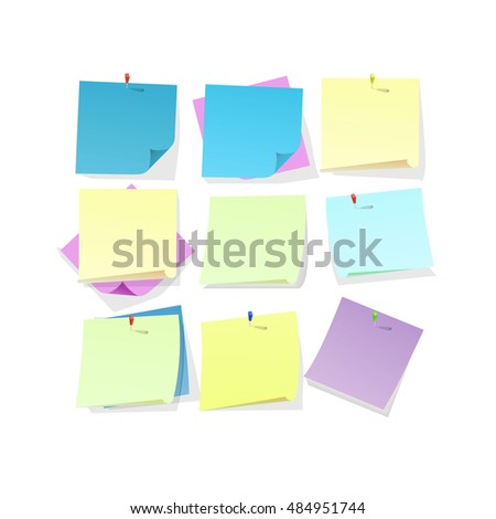 Yellow pink and blue sticky note papers with curled corners pined on board.