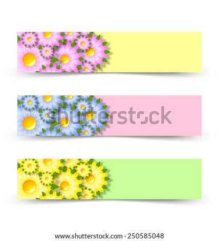 Yellow, pink and green spring floral banners on white background - stock vector