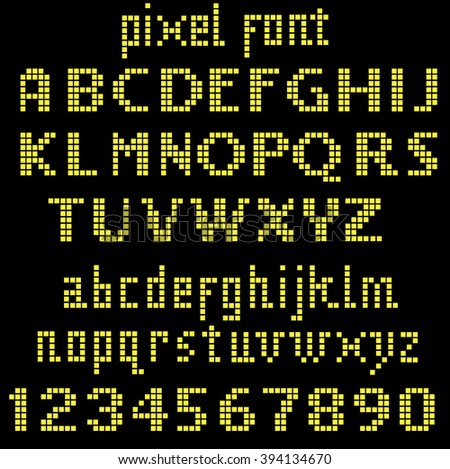 Yellow pixel font, set of letters and numbers - stock vector