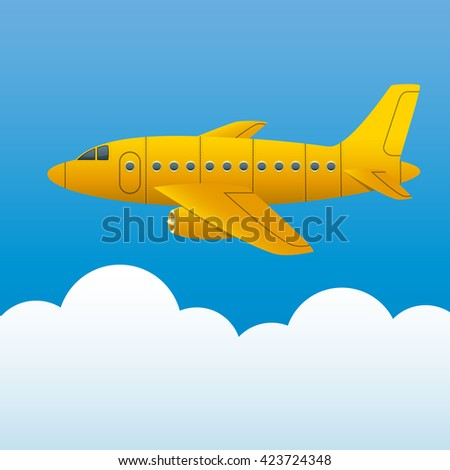 Yellow plane on a background of blue sky and white clouds. Cartoon style. Vector Image. - stock vector