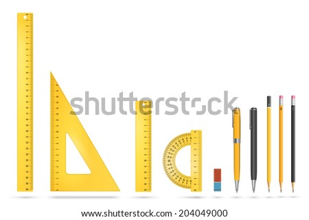 Yellow plastic ruler instruments and school equipment. Vector illustration. - stock vector