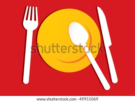 yellow plate on red background - stock vector