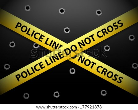 Yellow police line tape on a metal background.