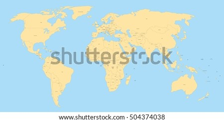 Yellow political world map black labels vectores en stock 504374038 yellow political world map with black labels of sovereign countries and larger dependent territories simplified gumiabroncs Choice Image