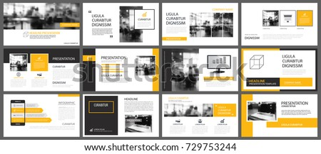 Yellow presentation templates and infographics elements background. Use for business annual report, flyer, corporate marketing, leaflet, advertising, brochure, modern style.