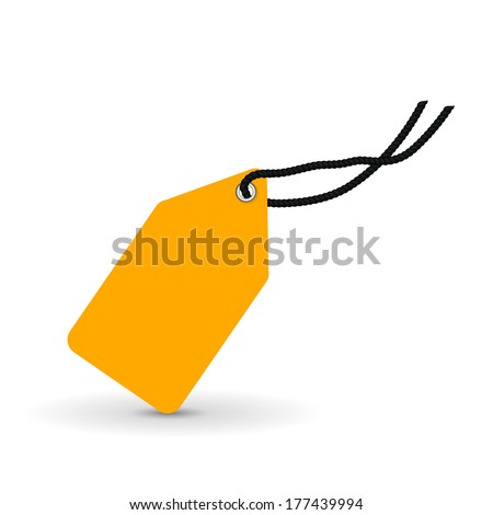 yellow price tag, label, vector illustration - stock vector