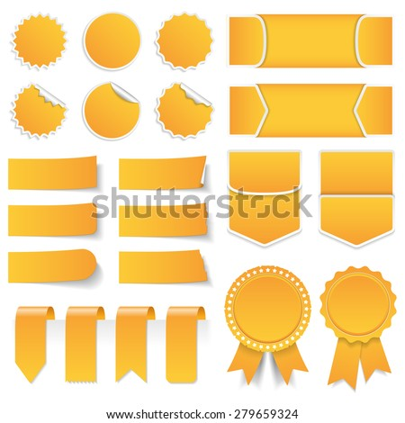 Yellow price tags, stickers, labels, banners and ribbons, vector eps10 illustration - stock vector