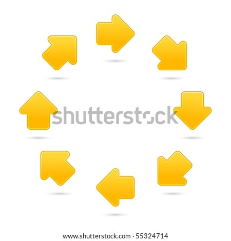 Yellow processing sign web 2.0 internet button. Satin colorful shapes with shadow on white background