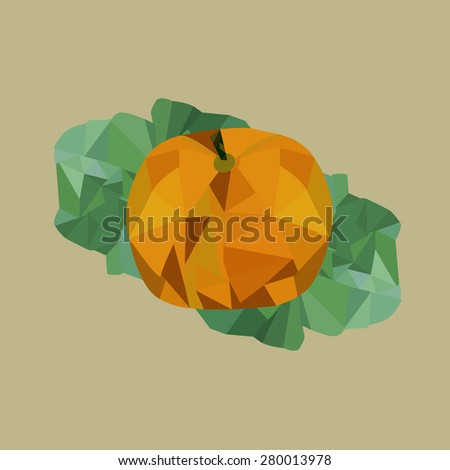 Yellow pumpkin with green leaves - stock vector