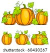 Yellow pumpkins & green leaves, Halloween vector illustration - stock photo