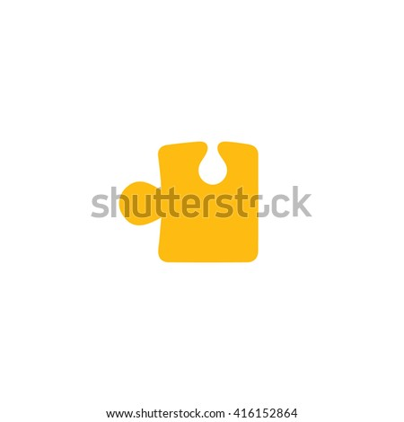 Yellow puzzle icon vector illustration. - stock vector