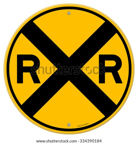 Yellow Rail Sign - Railroad warning symbol isolated on white background - stock vector