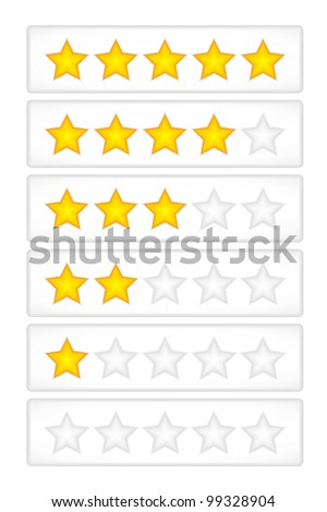Yellow rating stars on the grey button vector
