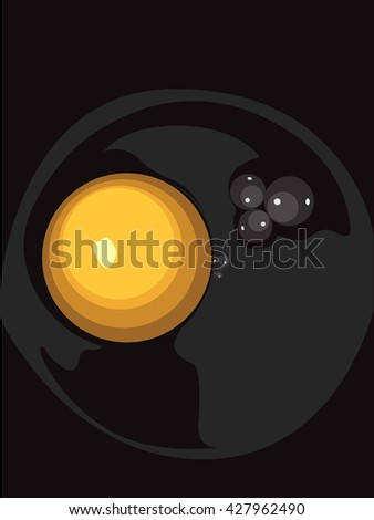 Yellow Raw Egg in Black Bowl - stock vector