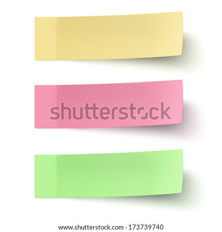 Yellow, red and green sticky notes isolated on white background - stock vector
