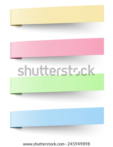 Yellow, red, blue and green sticky notes isolated on white background - stock vector