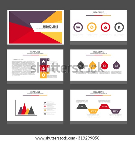 Yellow red purple Infographic elements presentation template flat design set for brochure flyer leaflet - stock vector