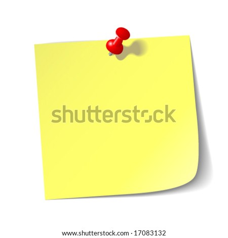 Yellow reminder note with red pin. - stock vector
